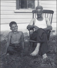 Dirk and his dad 1955 in Canada
